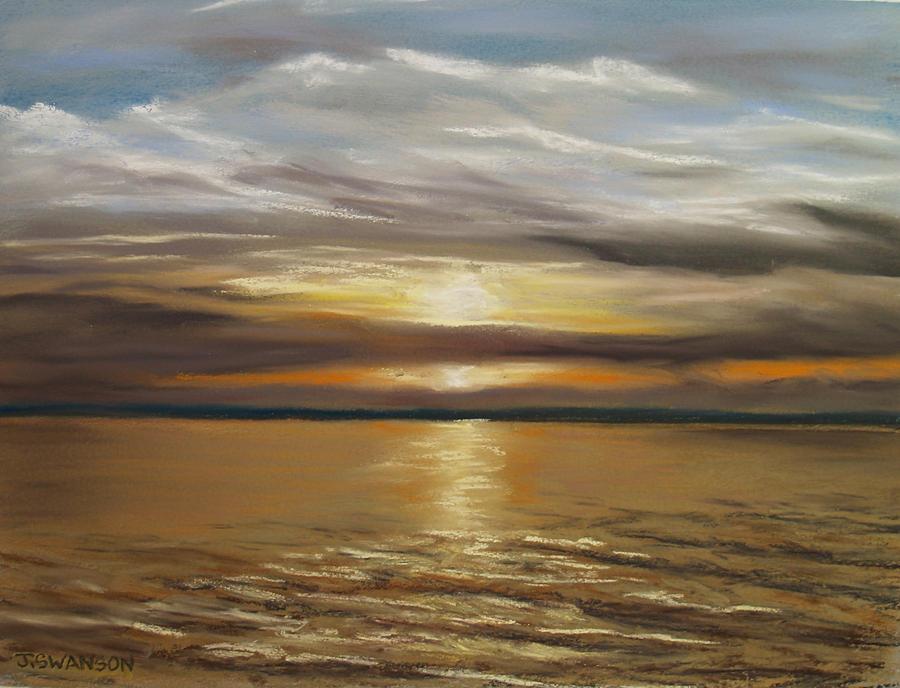 Barnegat Bay Pastel - Barnegat Sunset by Joan Swanson
