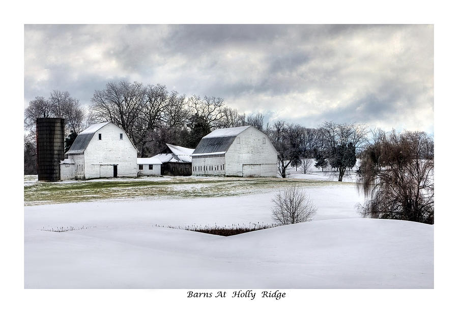 Snow Photograph - Barns At Holly Ridge by Terry Spencer