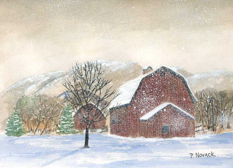 Barns Painting - Barns In Winter by Patricia Novack