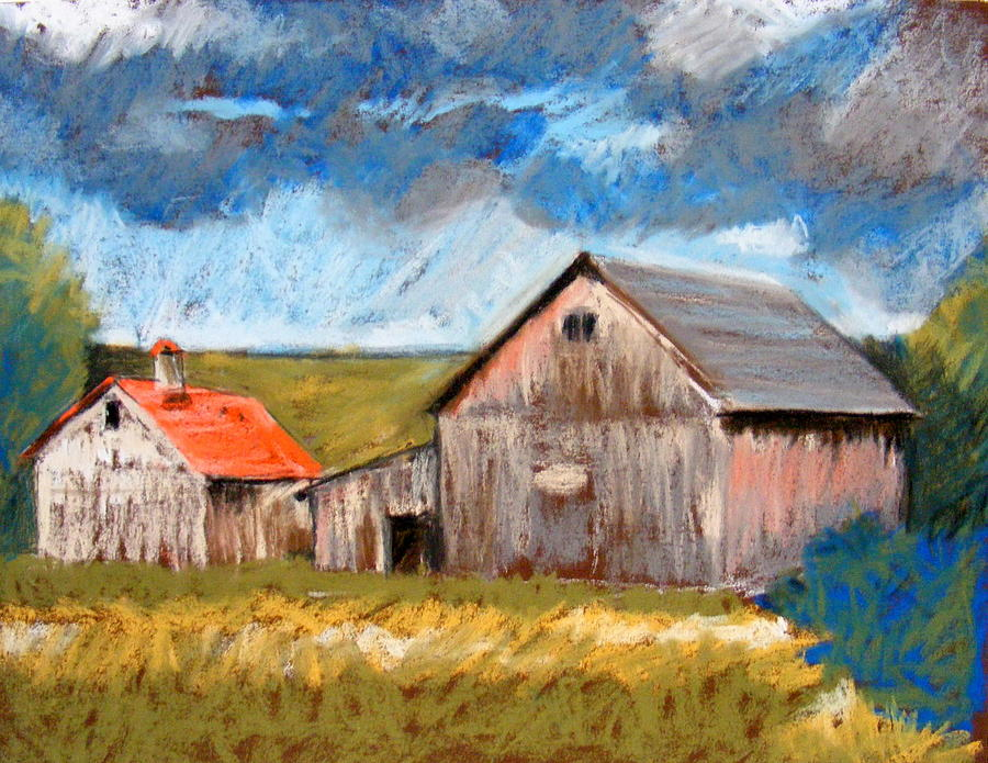 Pastel Pastel - Barns On Maple Street by Lenore Gaudet