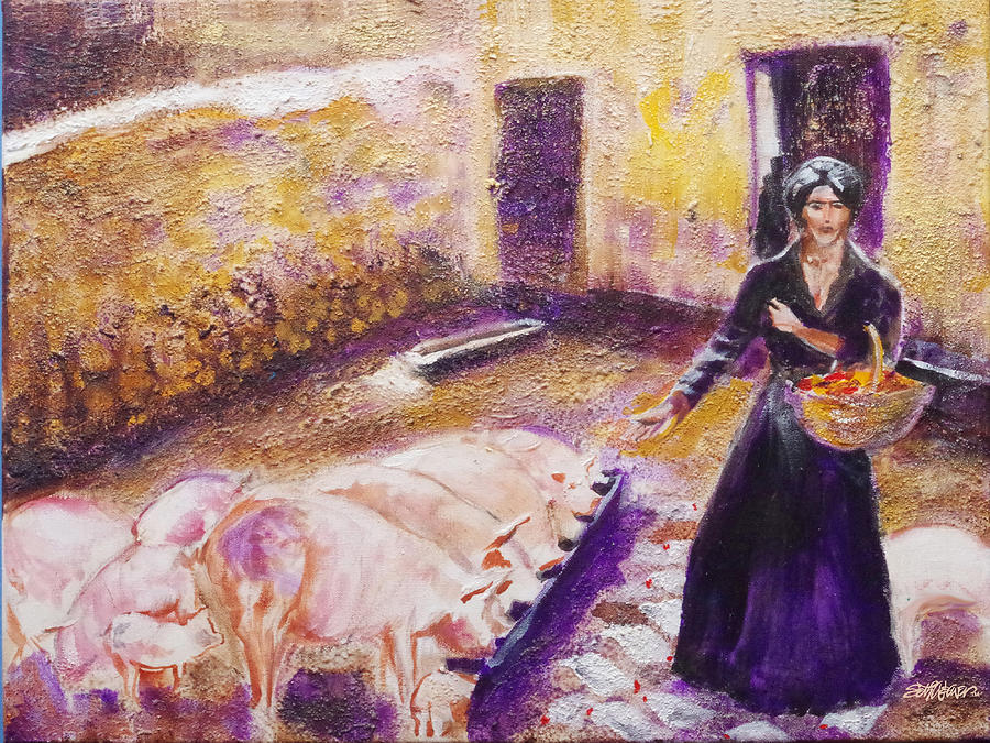 Old West Painting - Barnyard Breakfast...chickens And Pigs by Seth Weaver