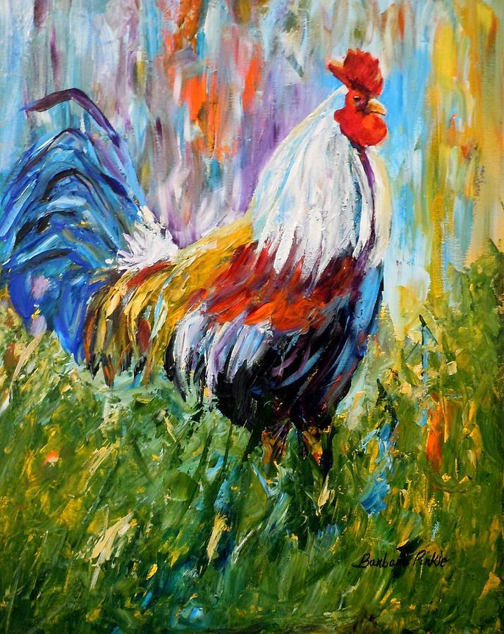 Rooster Painting - Barnyard Rooster by Barbara Pirkle