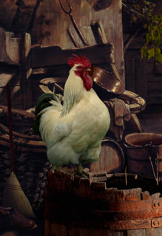 Rooster Painting - Barnyard Rooster by IM Spadecaller