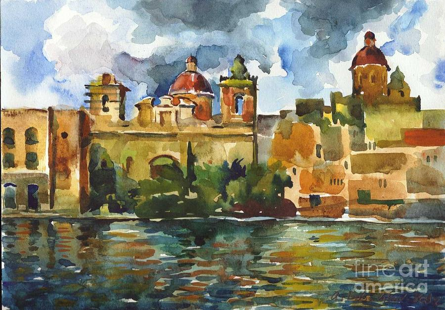 Watercolor Painting - Baroque Domes And Baroque Skies Of Vittoriosa In Malta by Anna Lobovikov-Katz