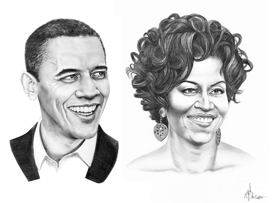 Portrait Drawing - Barrack And Michelle Obama by Murphy Elliott