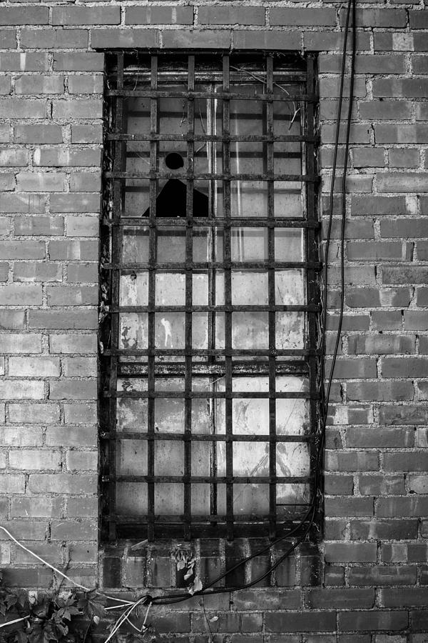Black And White Photograph - Barred Window by Nathan Hillis