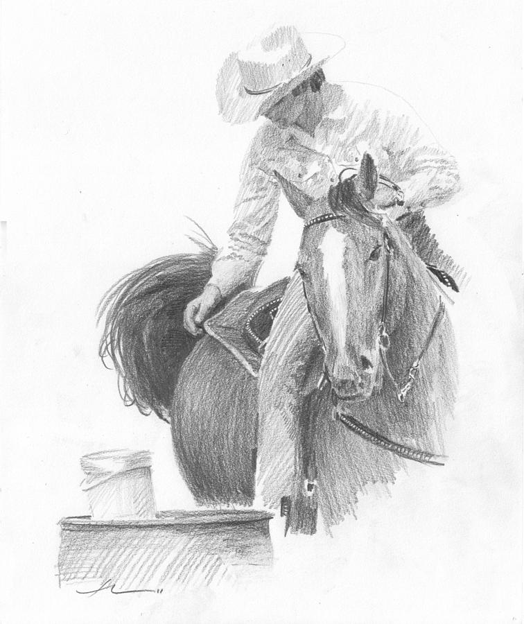 Barrel Horse Rider Pencil Portrait Drawing by Mike Theuer