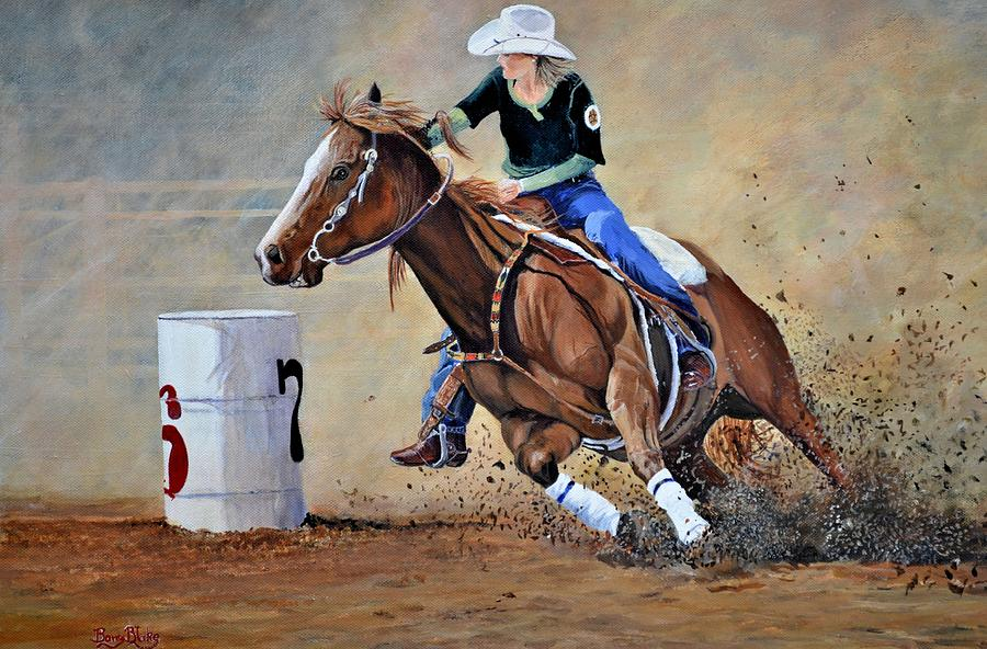Barrel Racer Painting By Barry BLAKE