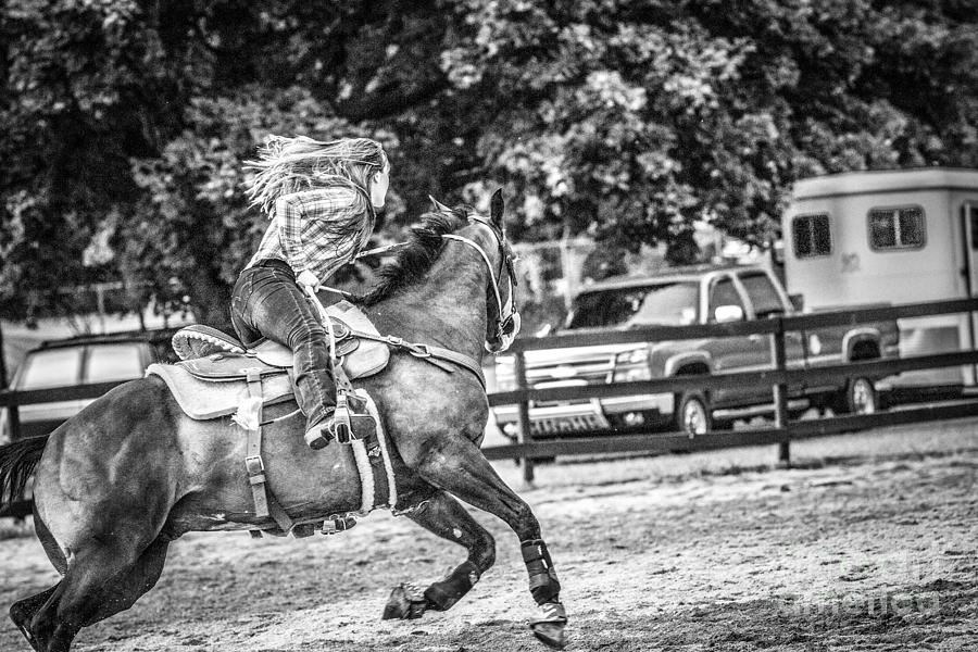 Events photograph barrel racing black and white by eleanor abramson