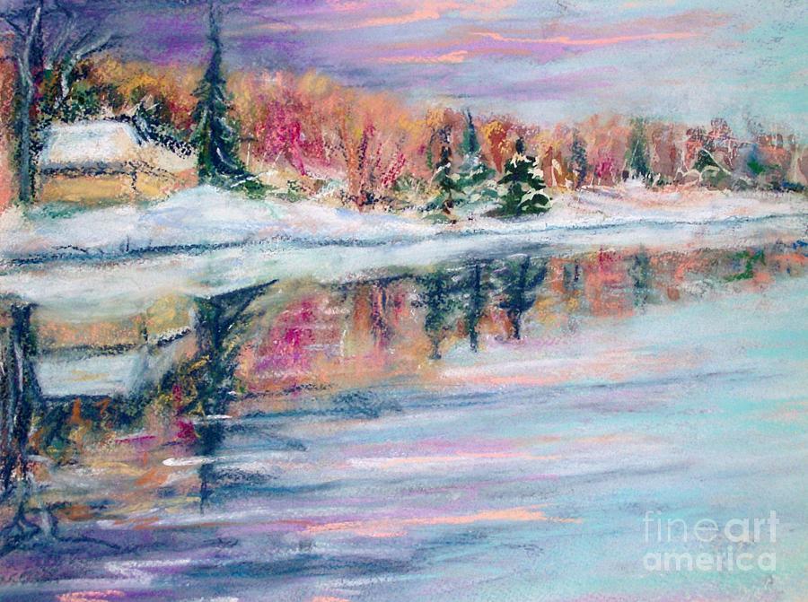 Snow Painting - Barries Pond by Lorrie Sniderman