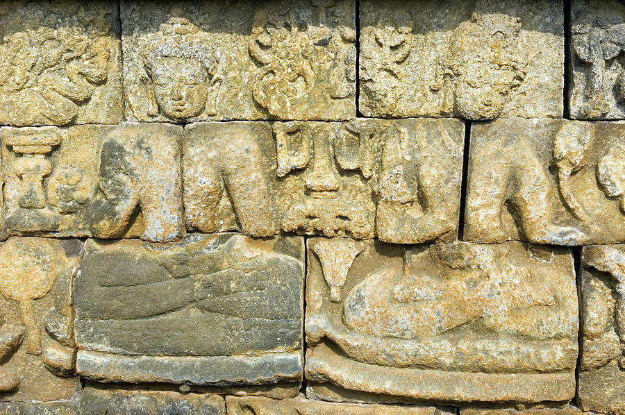 Bas-relief Borobudur Java Indonesia Photograph by Lp7