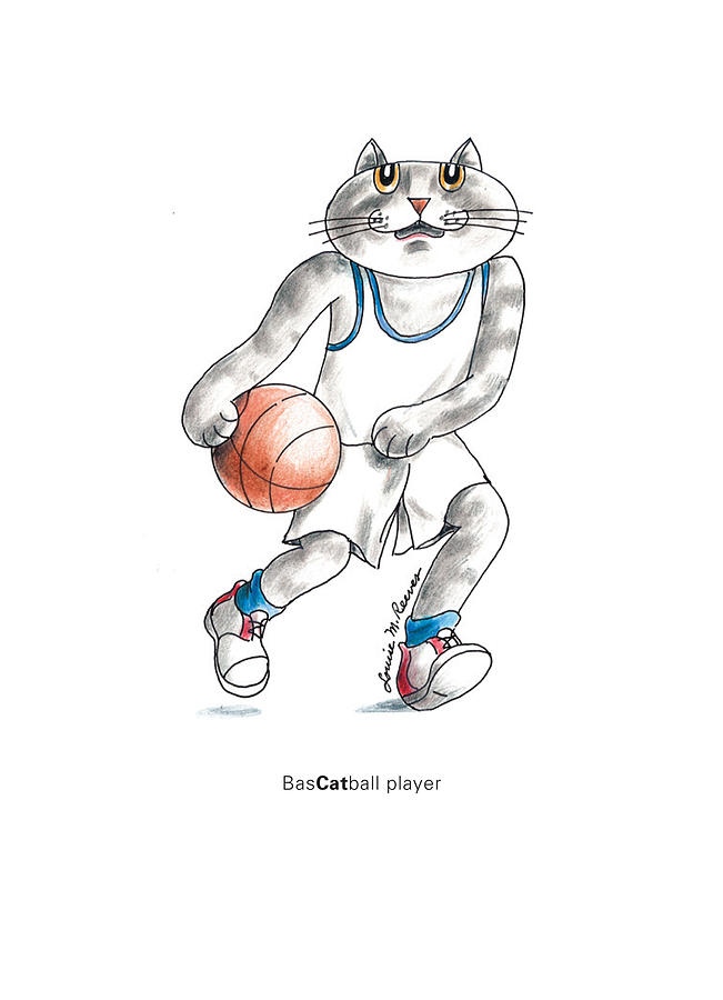 Cat Drawing - Bascatball Player by Louise McClain Reeves