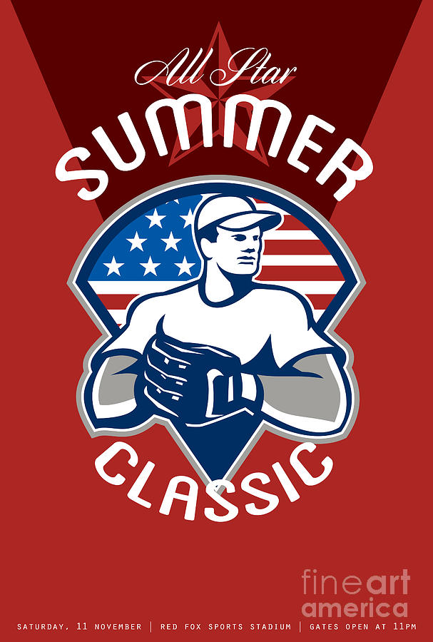 American Digital Art - Baseball All Star Summer Classic Poster by Aloysius Patrimonio