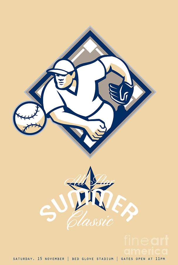 American Digital Art - Baseball All Star Summer Classic Retro Poster by Aloysius Patrimonio