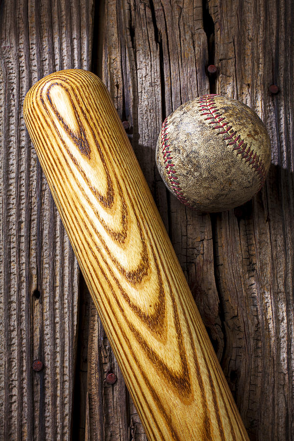 Bat Photograph - Baseball Bat And Ball by Garry Gay