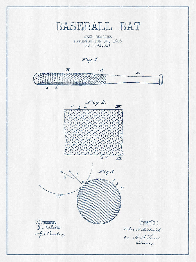 Baseball Bat Patent Drawing From 1904 - Blue Ink Digital Art