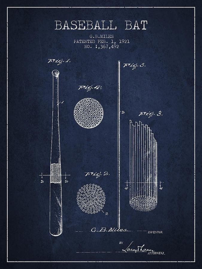 Baseball Bat Patent Drawing From 1921 Digital Art