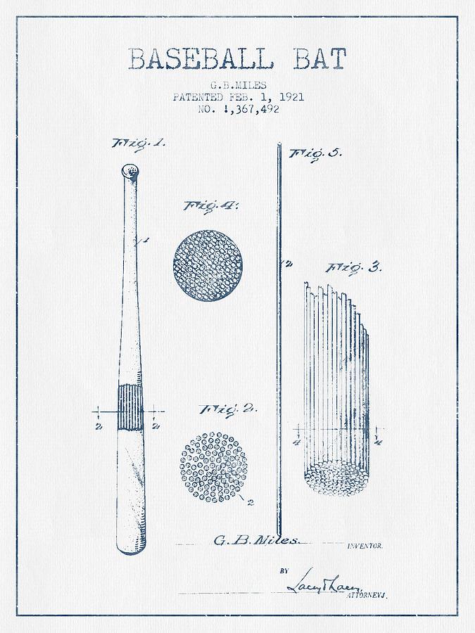 Baseball Bat Patent Drawing From 1921 - Blue Ink Digital Art
