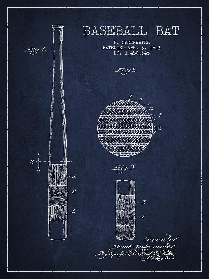 Baseball Bat Patent Drawing From 1923 Digital Art