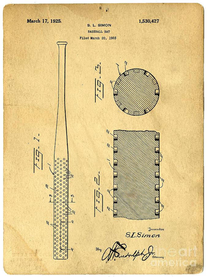 Patent Photograph - Baseball Bat Patent by Edward Fielding