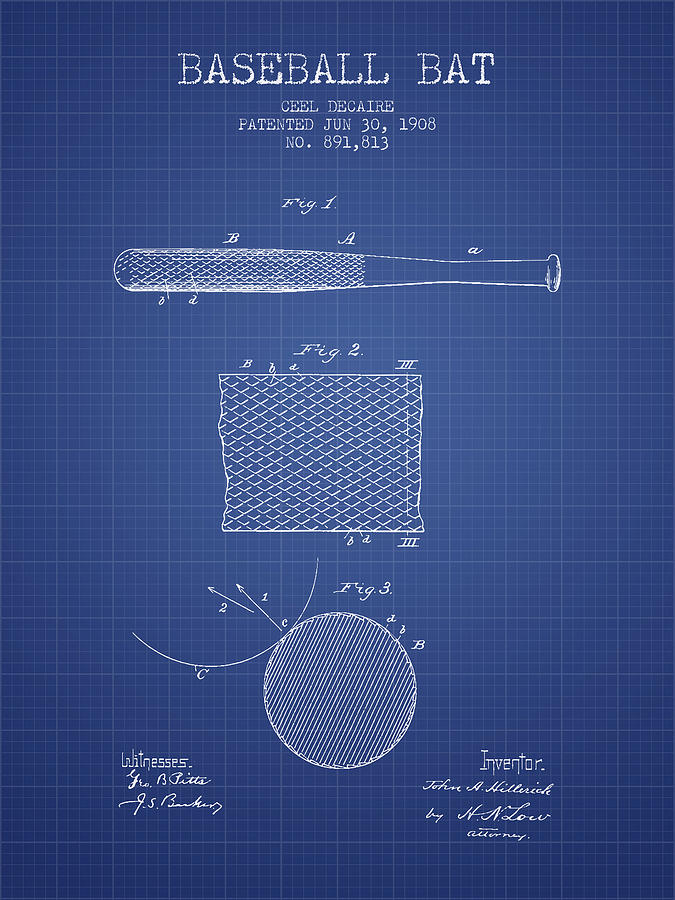 Baseball bat patent from 1908 blueprint drawing by aged pixel baseball drawing baseball bat patent from 1908 blueprint by aged pixel malvernweather Image collections