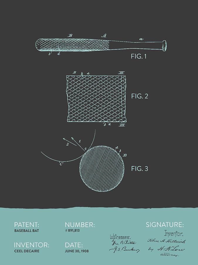 Baseball Bat Patent From 1908 - Gray Blue Digital Art