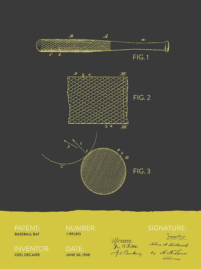 Baseball Bat Patent From 1908 - Gray Yellow Digital Art