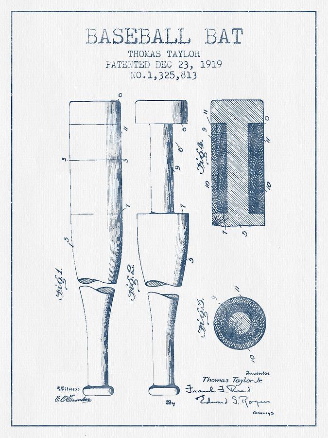 Baseball Bat Patent From 1919 - Blue Ink Digital Art