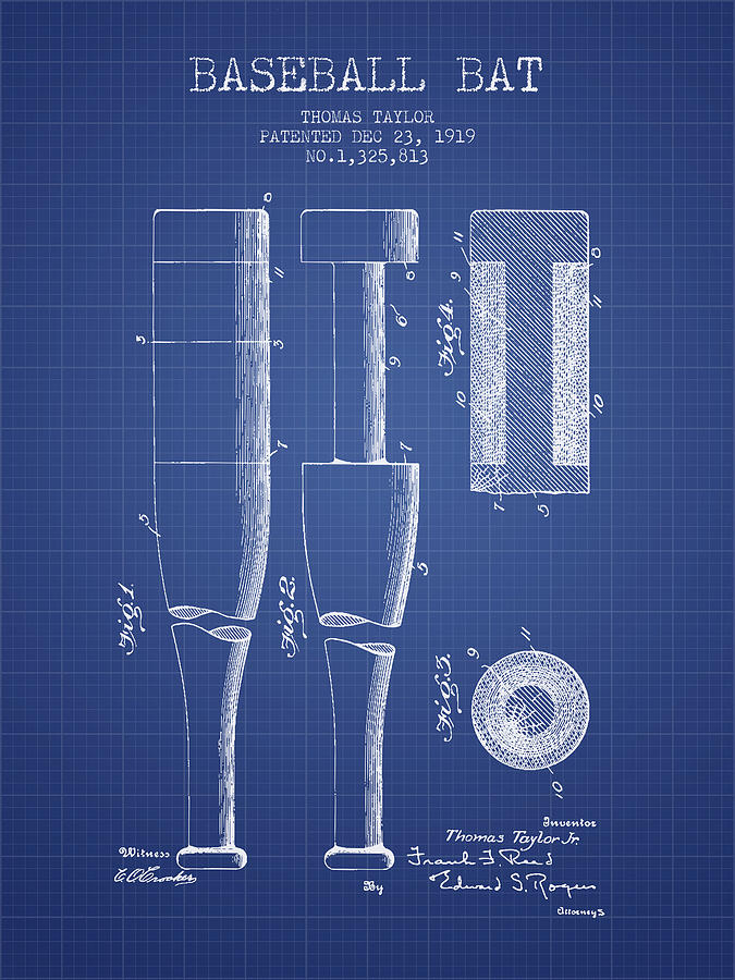 Baseball Bat Patent From 1919 - Blueprint Drawing
