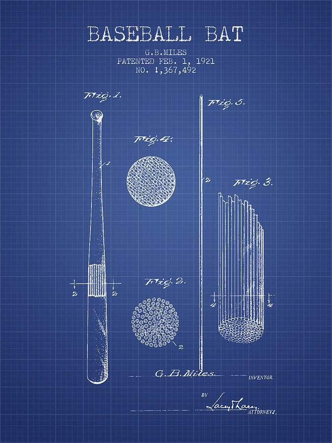 Baseball bat patent from 1921 blueprint drawing by aged pixel baseball drawing baseball bat patent from 1921 blueprint by aged pixel malvernweather Image collections