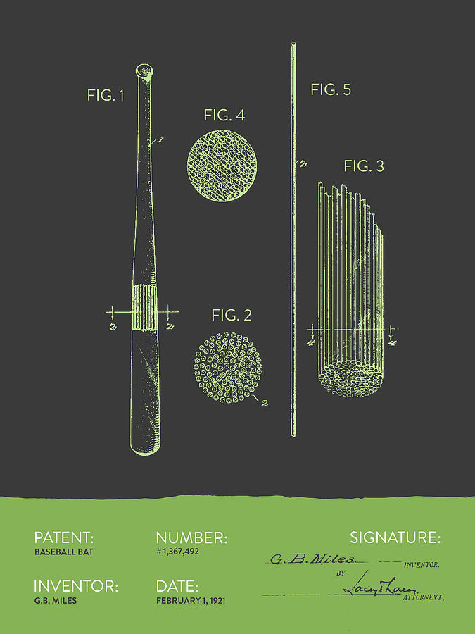 Baseball Bat Patent From 1921 - Gray Green Digital Art