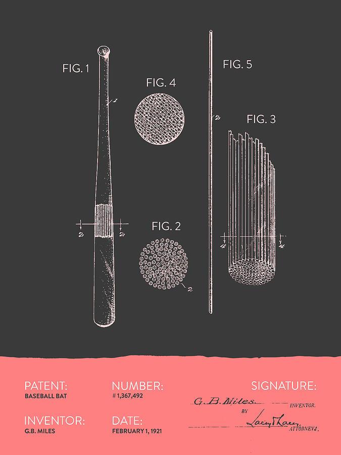 Baseball Bat Patent From 1921 - Gray Salmon Digital Art