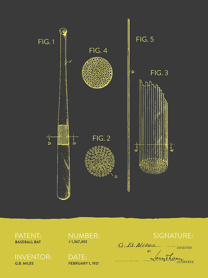 Baseball Bat Patent From 1921 - Gray Yellow Digital Art