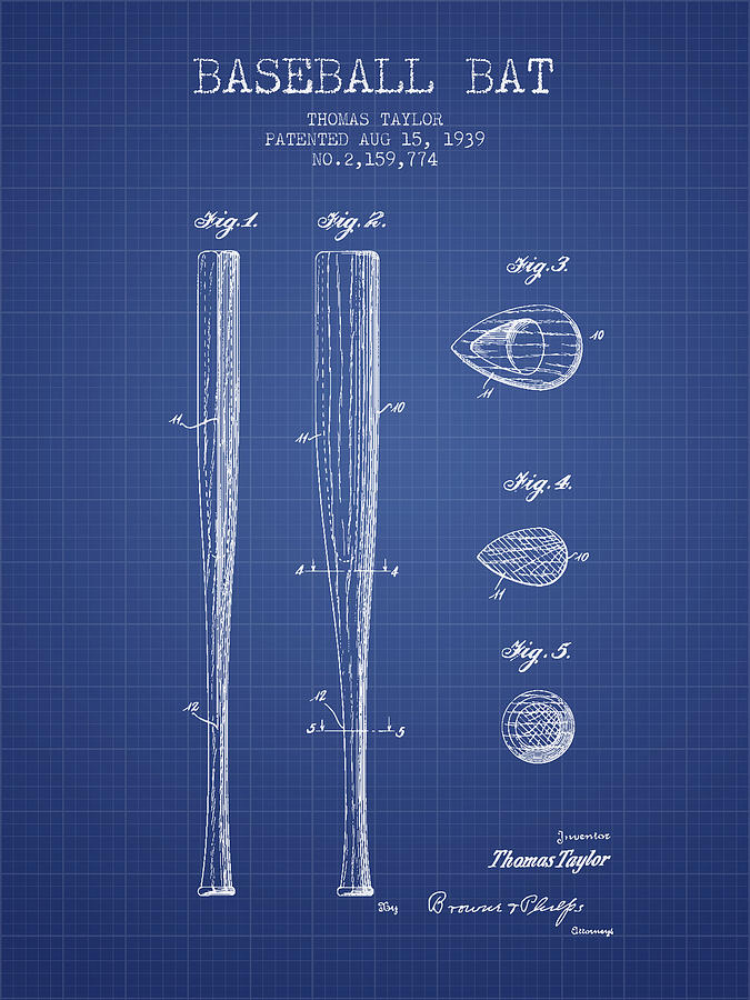 Baseball Bat Patent From 1939 - Blueprint Drawing
