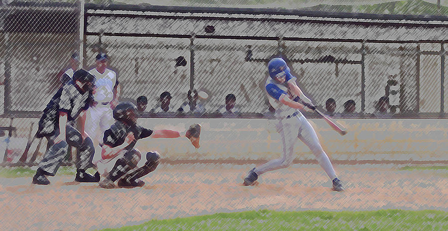Sports Photograph - Baseball Batter Contact Digital Art by Thomas Woolworth