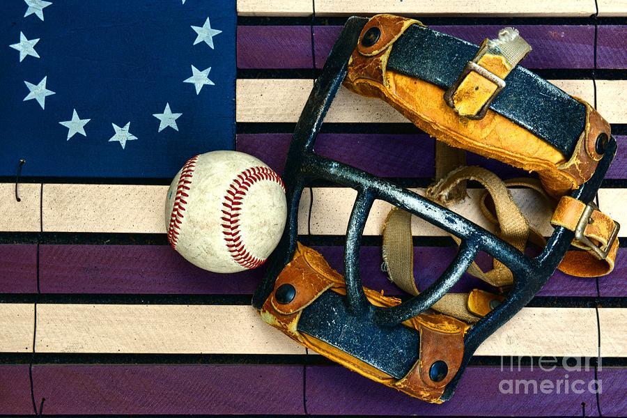 Paul Ward Photograph - Baseball Catchers Mask Vintage On American Flag by Paul Ward