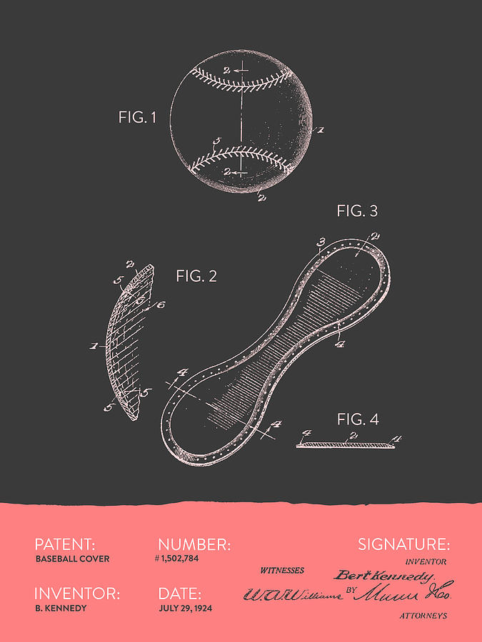 Baseball Cover Patent From 1924 - Gray Salmon Digital Art