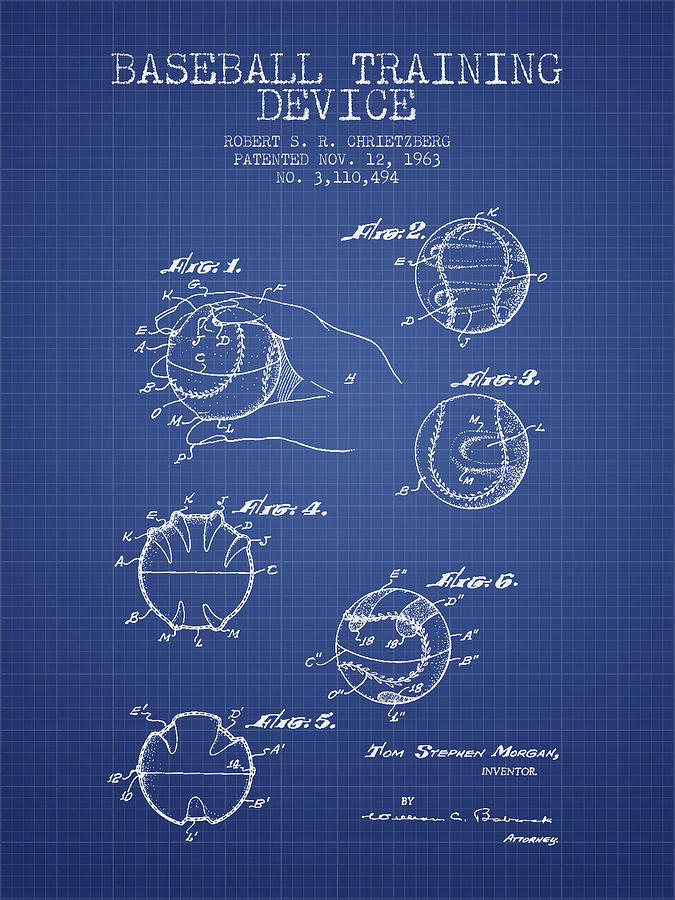 Baseball cover patent from 1963 blueprint drawing by aged pixel baseball drawing baseball cover patent from 1963 blueprint by aged pixel malvernweather Gallery