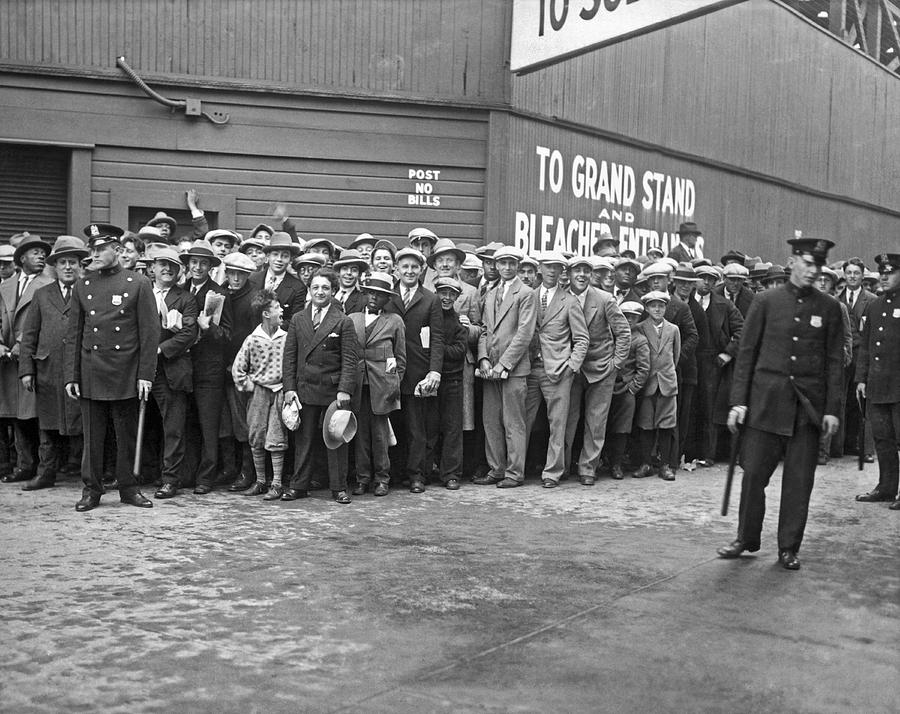 1938 Photograph - Baseball Fans Waiting In Line To Buy World Series Tickets. by Underwood Archives