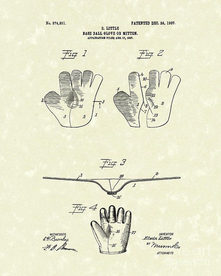 Little Drawing - Baseball Glove 1907 Patent Art by Prior Art Design