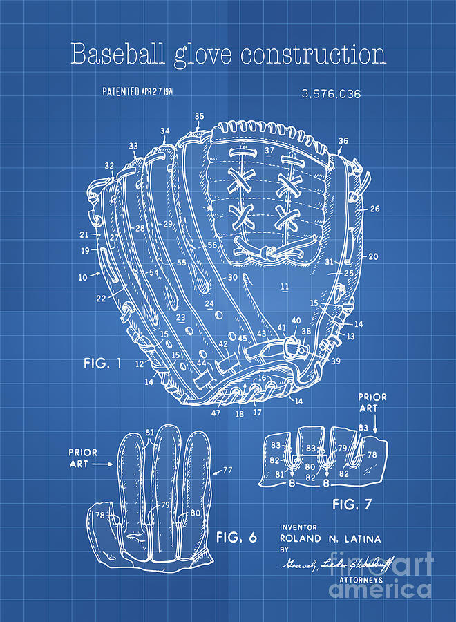 Baseball glove construction patent blueprint us 3576036 a digital baseball digital art baseball glove construction patent blueprint us 3576036 a by evgeni nedelchev malvernweather Image collections