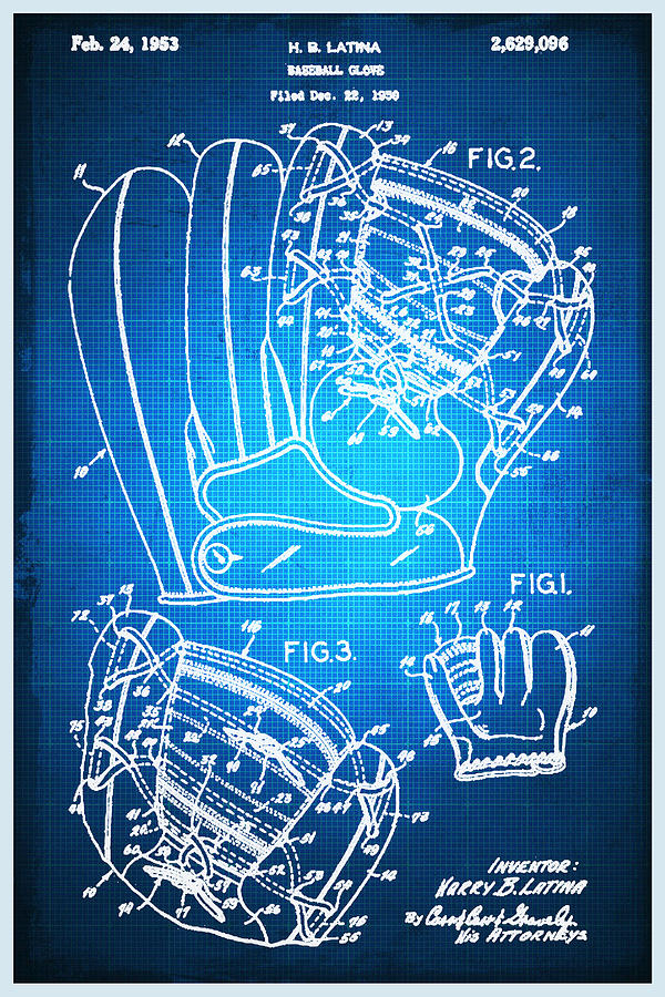 Baseball glove patent blueprint drawing mixed media by tony rubino baseball mixed media baseball glove patent blueprint drawing by tony rubino malvernweather Image collections