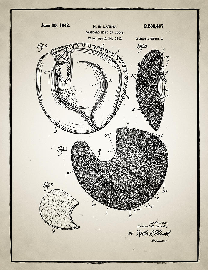 Baseball Photograph - Baseball Glove Patent by Bill Cannon