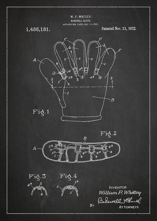 Baseball Glove Patent Drawing From 1922 Digital Art
