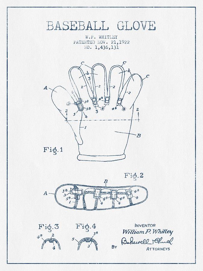 Baseball Glove Patent Drawing From 1922 - Blue Ink Digital Art