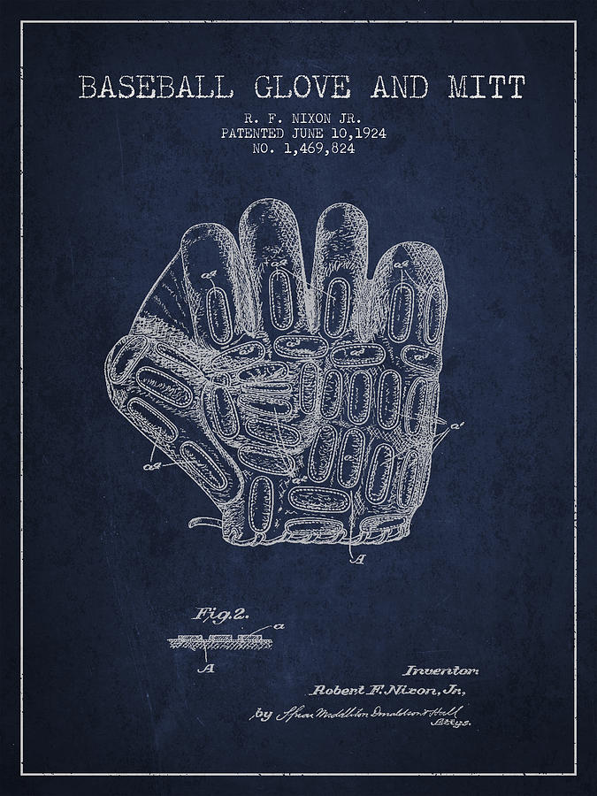 Baseball Glove Digital Art - Baseball Glove Patent Drawing From 1924 by Aged Pixel