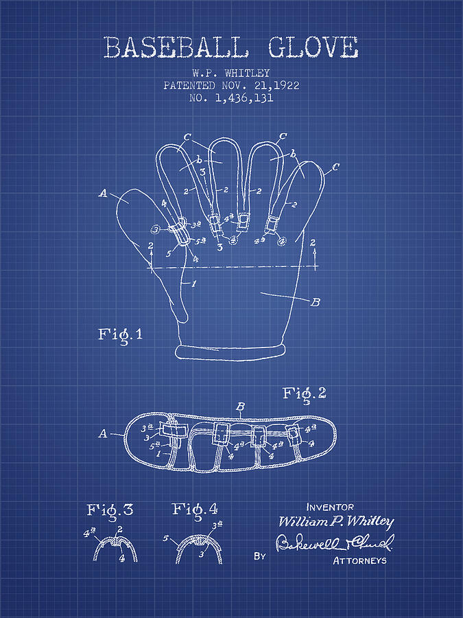 Baseball Drawing - Baseball Glove Patent From 1922 - Blueprint by Aged Pixel