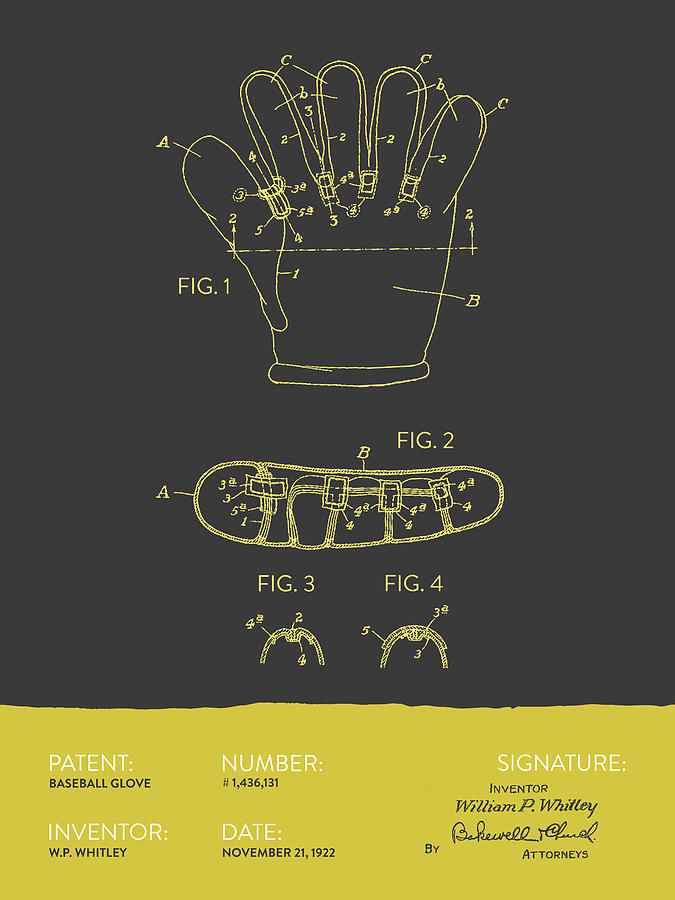 Baseball Glove Patent From 1922 - Gray Yellow Digital Art