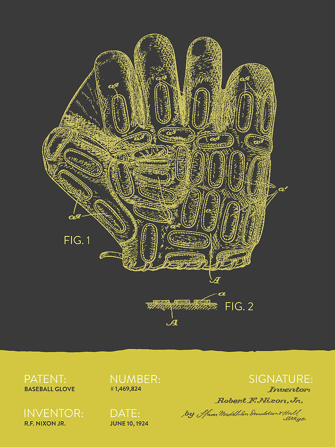 Baseball Glove Patent From 1924 - Gray Yellow Digital Art