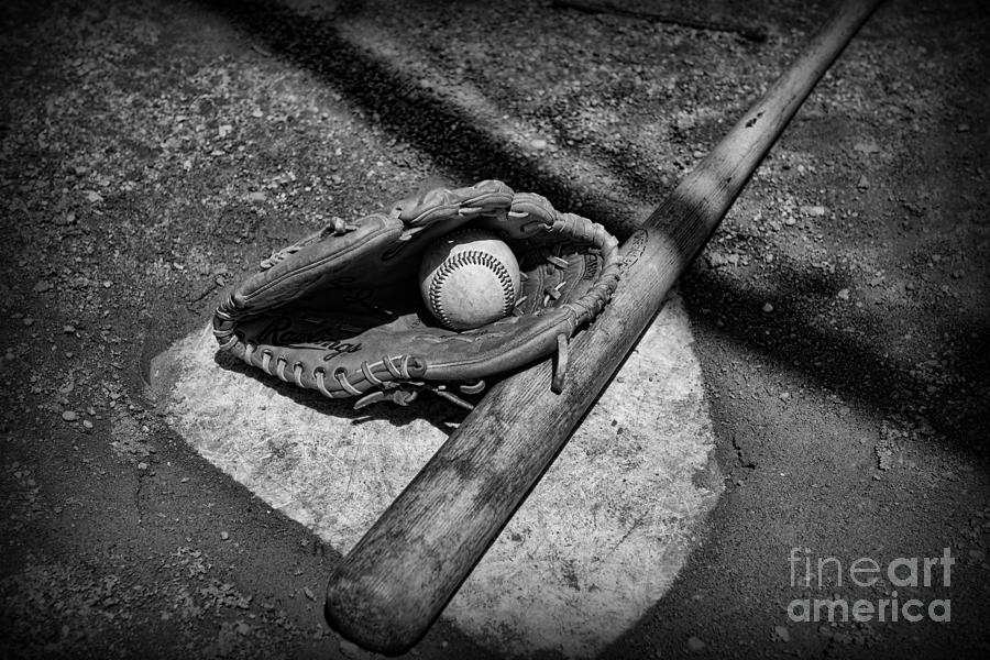 Paul Ward Photograph - Baseball Home Plate In Black And White by Paul Ward